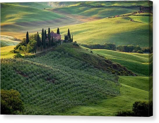 Green Hills Of Val De L' Orca Tuscan Villa Canvas Print