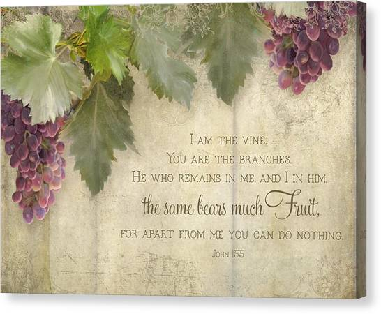 Winery Canvas Print - Tuscan Vineyard - Rustic Wood Fence Scripture by Audrey Jeanne Roberts