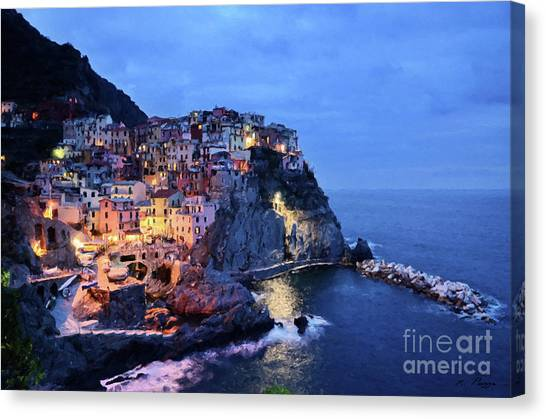 Tuscany Like Amalfi Cinque Terre Evening Lights Canvas Print