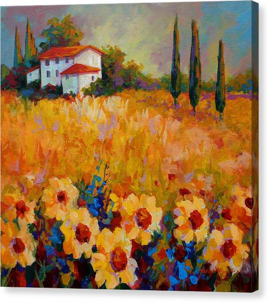 Vineyard Canvas Print - Tuscany Sunflowers by Marion Rose