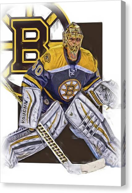 Boston Bruins Canvas Print - Tuukka Rask Boston Bruins Oil Art 1 by Joe Hamilton
