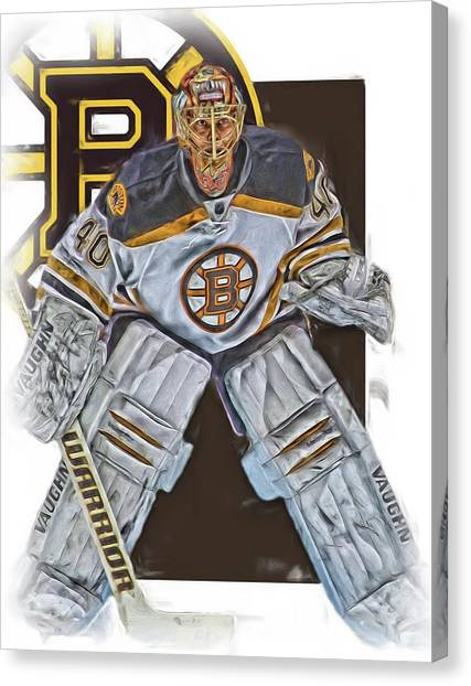 Boston Bruins Canvas Print - Tuukka Rask Boston Bruins Oil Art 2 by Joe Hamilton