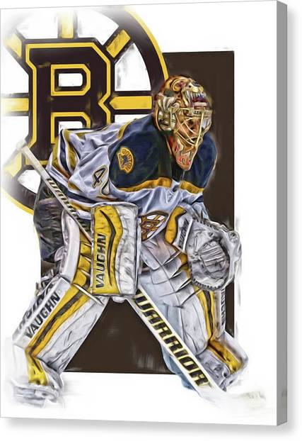Boston Bruins Canvas Print - Tuukka Rask Boston Bruins Oil Art 3 by Joe Hamilton