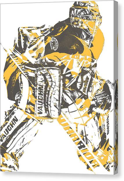 Boston Bruins Canvas Print - Tuukka Rask Boston Bruins Pixel Art 1 by Joe Hamilton