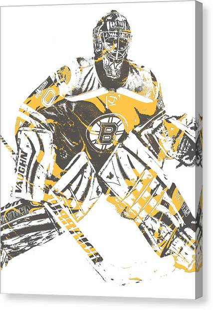 Boston Bruins Canvas Print - Tuukka Rask Boston Bruins Pixel Art 2 by Joe Hamilton