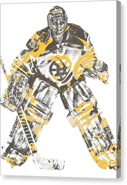 Boston Bruins Canvas Print - Tuukka Rask Boston Bruins Pixel Art 3 by Joe Hamilton