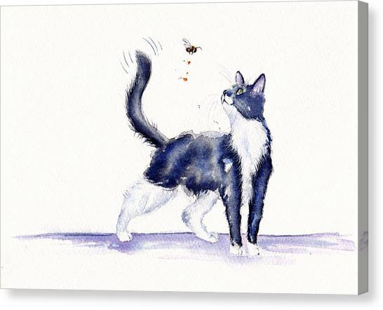 Cat Canvas Print - Tuxedo Cat And Bumble Bee by Debra Hall