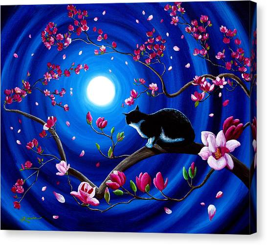 Tuxedo Canvas Print - Tuxedo Cat In A Japanese Magnolia Tree by Laura Iverson