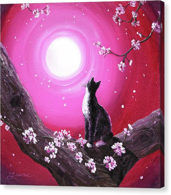 Tuxedo Canvas Print - Tuxedo Cat In Cherry Blossoms by Laura Iverson