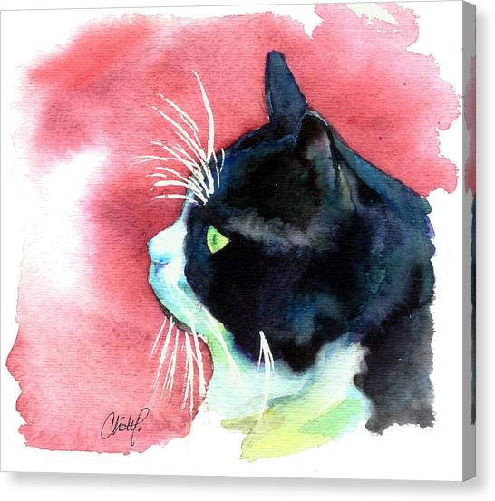 Red Eye Canvas Print - Tuxedo Cat Profile by Christy  Freeman
