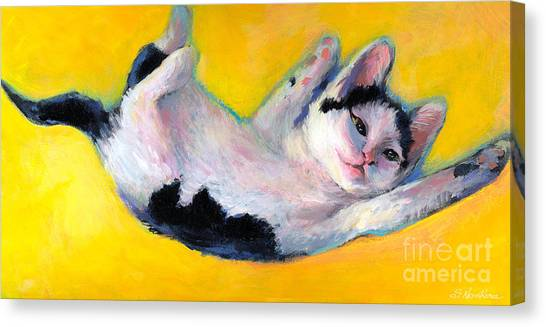 Tuxedo Canvas Print - Tuxedo Kitten Painting by Svetlana Novikova
