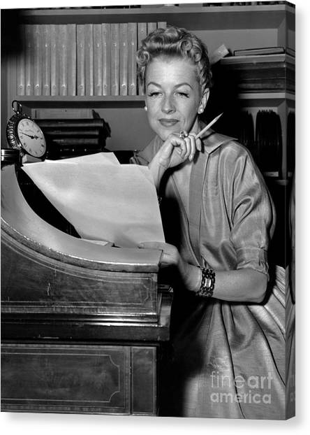 Tv And Big Screen Actress, Betty Furness. 1956 Canvas Print by Anthony Calvacca