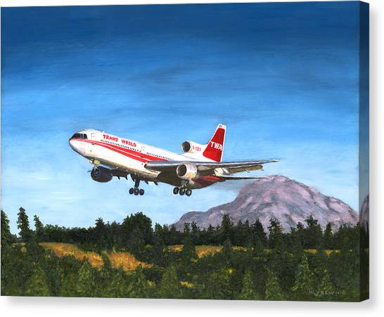 Twa L1011 Landing At Seattle Canvas Print