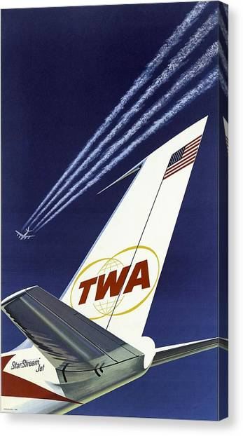 Twa Star Stream Jet - Minimalist Vintage Advertising Poster Canvas Print