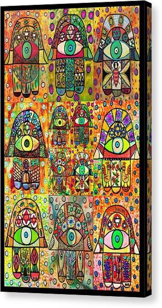Torah Canvas Print - Twelve Hamsas by Sandra Silberzweig