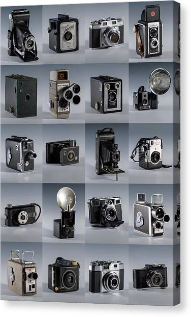 Twenty Old Cameras - Color Canvas Print