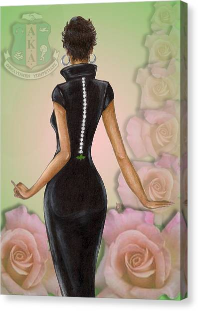 Alpha Kappa Alpha Canvas Print - Twenty Pearls N Pink Roses by BFly Designs