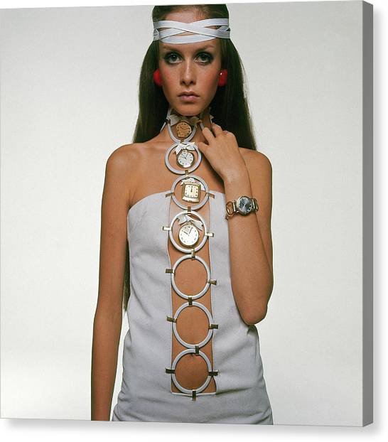 Twiggy Modeling Watches Canvas Print by Bert Stern
