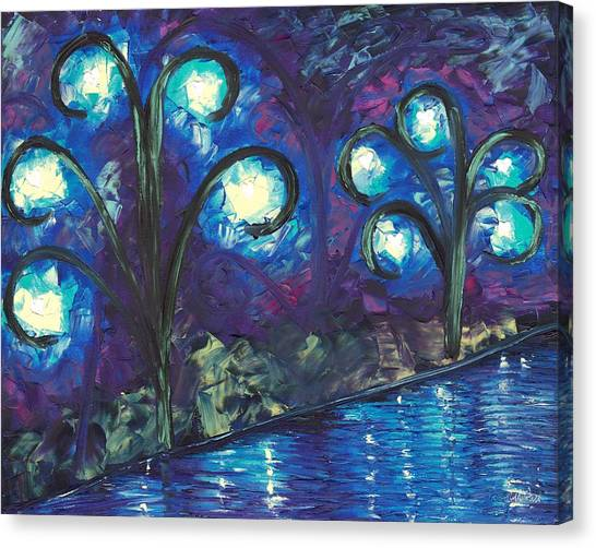 Canvas Print Featuring The Painting Twiglight Woods By Jessilyn Park