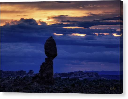 Canvas Print featuring the photograph Twilight At Balanced Rock by Stuart Gordon
