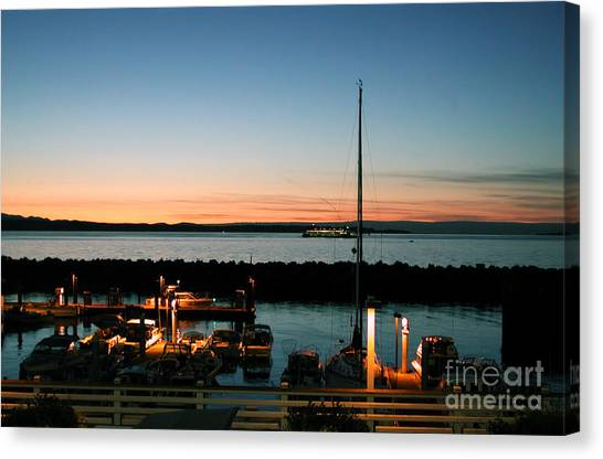 Twilight At Edmonds Marina Canvas Print