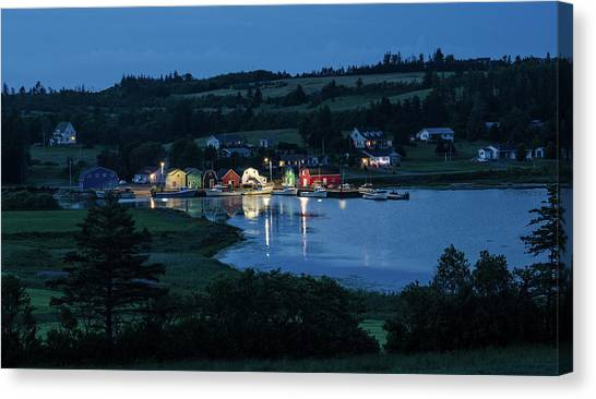 Canvas Print featuring the photograph Twilight At French River Harbour, Pei by Rob Huntley