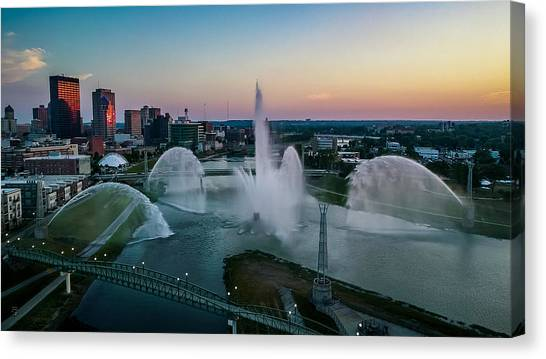 Twilight At The Fountains Canvas Print