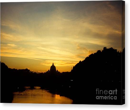 Twilight Behind The Vatican Canvas Print by Fabrizio Ruggeri