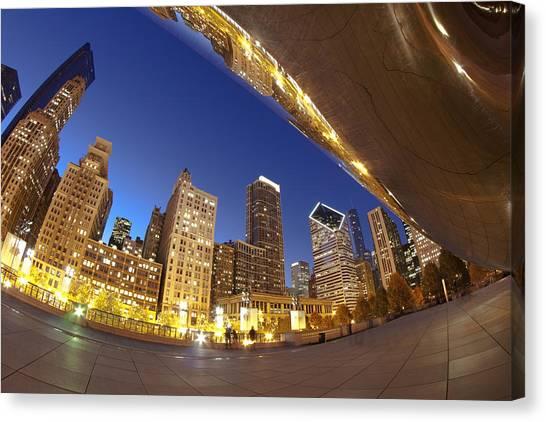 Cloudgate Canvas Print - Twilight Chicago Skyline  by Sven Brogren