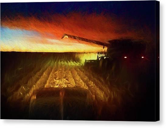 John Deere Canvas Print - Twilight Harvest by Thomas Zimmerman