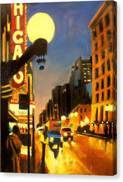 Twilight In Chicago - The Watcher Canvas Print