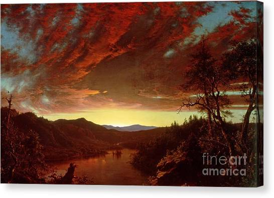 Wilderness Canvas Print - Twilight In The Wilderness by Frederic Edwin Church