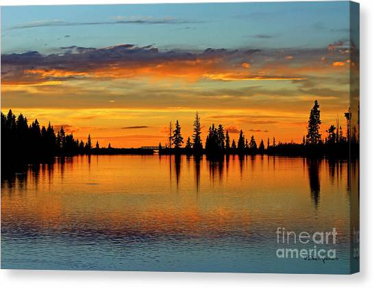 Twilight Lake Reflections In Colorado Canvas Print
