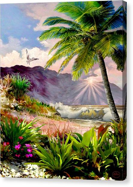 Love On A Deserted Island Canvas Print - Twilight On The Beach by Ron Chambers