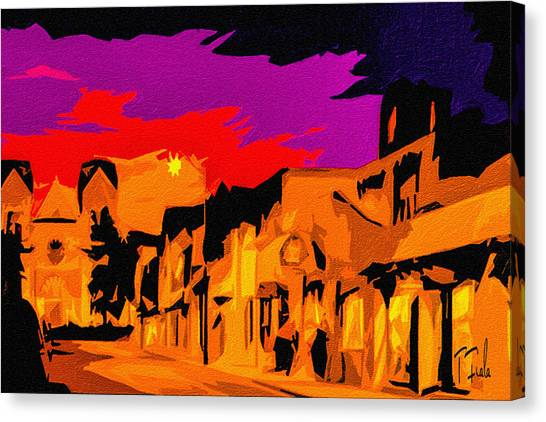 Twilight On The Plaza Santa Fe Canvas Print