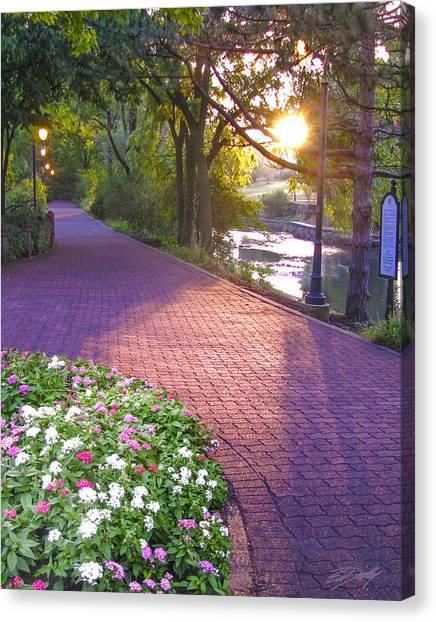 Twilight On The Riverwalk Canvas Print