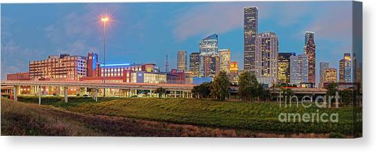 Aac Canvas Print - Twilight Panorama Of Downtown Houston Skyline And University Of Houston - Harris County Texas by Silvio Ligutti