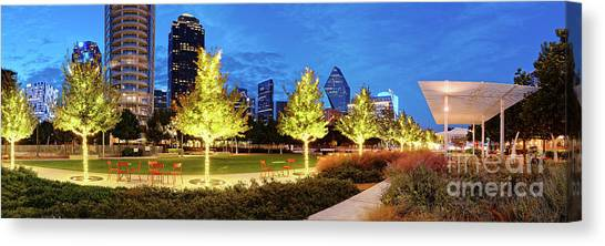 Twilight Panorama Of Klyde Warren Park And Downtown Dallas Skyline - North Texas Canvas Print