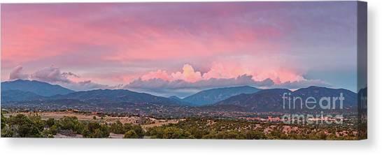 Twilight Panorama Of Sangre De Cristo Mountains And Santa Fe - New Mexico Land Of Enchantment Canvas Print