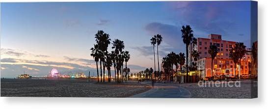 Santa Monica Pier Canvas Print - Twilight Panorama Of Santa Monica Pier And Oceanfront Walk - Los Angeles California by Silvio Ligutti
