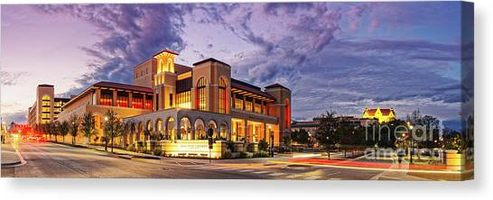 Lyndon Johnson Canvas Print - Twilight Panorama Of Texas State University Performing Arts Center - San Marcos Texas Hill Country by Silvio Ligutti
