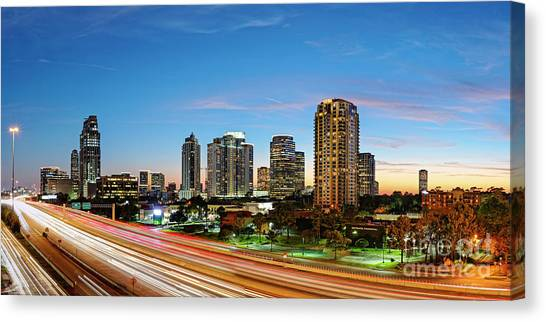 Twilight Panorama Of Uptown Houston Business District And Galleria Area Skyline Harris County Texas Canvas Print