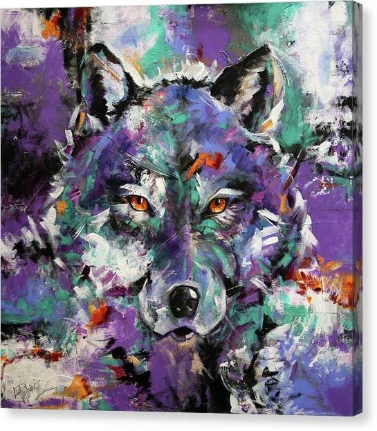 Canvas Print - Twilight Purple Wolf by Laurie Pace
