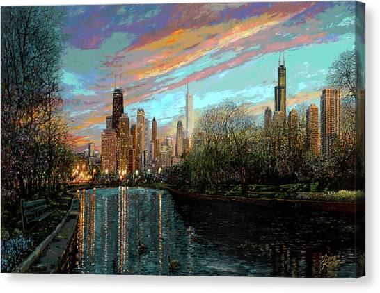 Chicago Canvas Print - Twilight Serenity II by Doug Kreuger