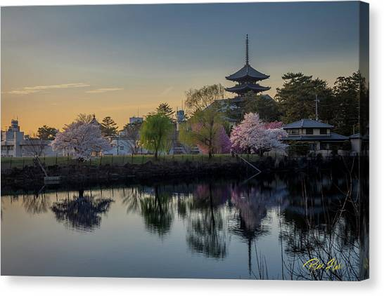 Canvas Print featuring the photograph Twilight Temple by Rikk Flohr
