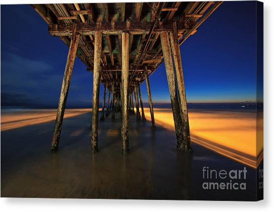 Twilight Under The Imperial Beach Pier San Diego California Canvas Print