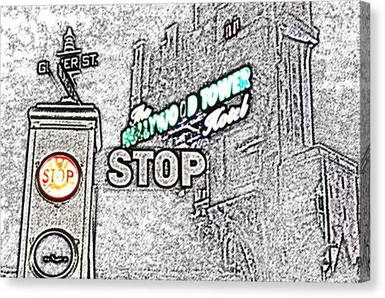 Twilight Zone Tower Of Terror Stop Sign Hollywood Studios Walt Disney World Prints Colored Pencil Canvas Print