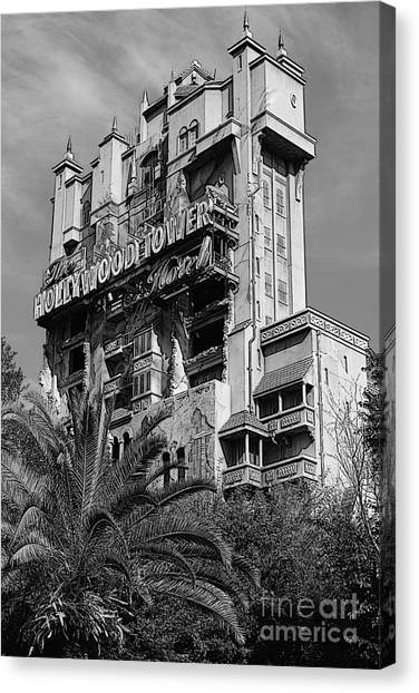 Twilight Zone Tower Of Terror Vertical Hollywood Studios Walt Disney World Prints Bandw Poster Edges Canvas Print