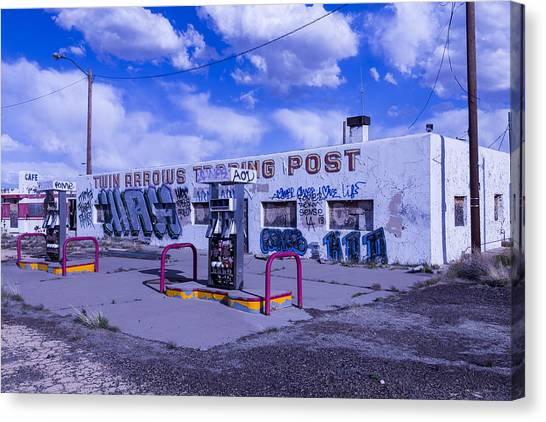 Timeworn Canvas Print - Twin Arrows Trading Post by Garry Gay