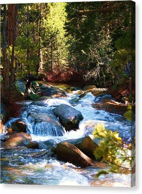 Twin Bridges Cascades Canvas Print by Russell  Barton